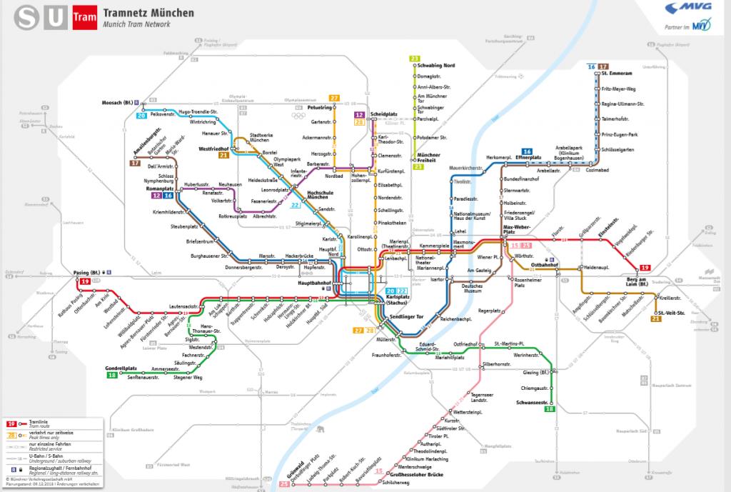 Mappa tram Monaco di Baviera