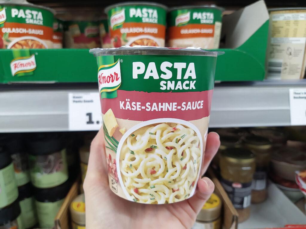 Pasta pronta nei supermercati tedeschi: pasta al formaggio